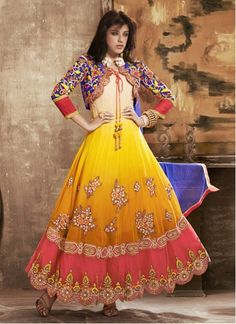 NEW ARRIVALS!!  Awesome Yellow And Orange Resham Work Anarkali Suit  Product Order Link : http://www.maplefashions.com/new-arrivals/awesome-yellow-and-orange-resham-work-anarkali-suit_5497#.U4gdpnKSxIE  Call or Whatsapp : +919377152141 SHOP NOW!!