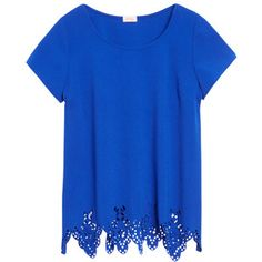 Like the cobalt blue color, style with short sleeves & high neckline, plus detail on hem.