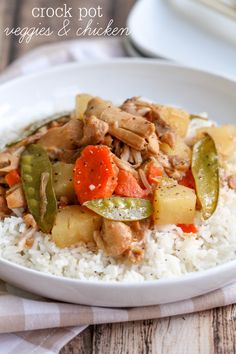 Crock Pot Veggies and Chicken recipe which is a new family favorite. It's so simple and filled with your favorite veggies, pineapple and chicken!