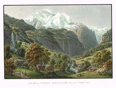 Vue de la Jungfrau dans la vallée de Lauterbruñen - Aquatinte - gravure imprimée en couleurs par Johann HÜRLIMANN (1793-1850) d'après Mathias Gabriel LORY fils (1784-1846) - MAS Estampes Anciennes - MAS Antique Prints