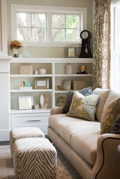 Living Room Bookshelf by fireplace. Living room fireplace bookshelf. Living room with bookshelf on both sides of fireplace. #Livingroom #fireplacebookshelf Blend Interior Design.