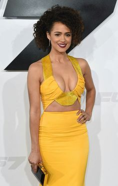 Nathalie Emmanuel goes for extreme cleavage in a yellow dress at LA Furious 7 premiere Beautiful Celebrities, Beautiful Actresses, Gorgeous Women, Nathalie Emmanuel, Actrices Sexy, Yellow Gown, Femmes Les Plus Sexy, Ebony Girls, Female Actresses