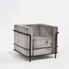 Culled from bloodandchampagne.com. i love love love this rebar and concrete LeCorbusier-inspired armchair!