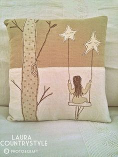 Laura country style: My home: living room Freehand Machine Embroidery, Free Motion Embroidery, Hand Embroidery, Sewing Art, Sewing Crafts, Sewing Projects, Diy Pillow Covers, Diy Pillows, Cushions
