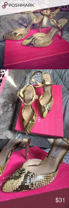 Chinese Laundry Snake Print Pumps Kristin Cavallari Chinese Laundry Yellow Snake Print Pumps. Style: Cyprus. Leather yellow. Size 8. Feature a Leather upper with a Pointed Toe. Good condition. Only worn once.Comes with original box. Chinese Laundry Shoes Heels