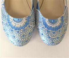 Custom Wedding Shoes   Ivory and baby blue   Floral and henna inspired   Hand painted by professional artist at Hourglass Footwear in Seattle!