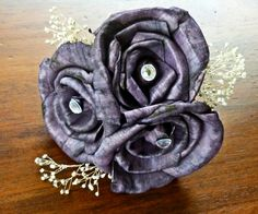Purple Rose Silver Cake Topper-  Wedding Cake Decoration Accent. $18.00, via Etsy.