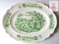 Large Vintage Green Transferware Scalloped Platter English Country Gar
