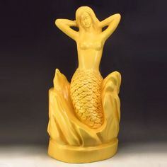 Superb Chinese Boxwood Mermaid Statue