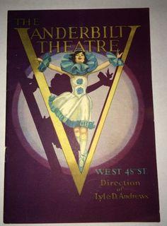 Vanderbilt Theatre Booklet Playbill 1930 Sexy Flapper Girl Art Deco Cover