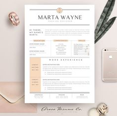 Resume Template 3 Pages | Peach by Draca Design Co on @creativemarket