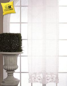 Tenda finestra shabby chic in misto lino cotone con decori favolosi alla base by Blanc Mariclo