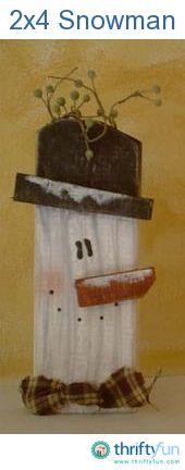 "You can create a cute country snowman by using a 2x4. First, cut a section of 2x4 about 12"" long, then on one end cut the corners to create an edge for the hat, they do not have to be perfect corners. Next sand all edges of your 2x4."