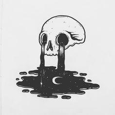 doodle art Illustration by skulldreams_ Pencil Art Drawings, Cool Drawings, Tattoo Drawings, Drawing Sketches, Tattoo Sketches, Skull Drawings, Art Tattoos, Skeleton Art, Arte Obscura