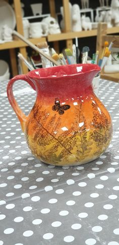 Painted by a customer at Slap n Dash studio Paint Your Own Pottery, Moscow Mule Mugs, Screen Printing, Vase, Ceramics, Studio, Tableware, Prints, Painting