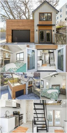 The Carriage House is a Unique Tiny Home from Zenith Design + Build The vast majority of tiny houses have the same basic layout. They are similar in size and shape to a large motorhome not a coincidence, considering motorhomes were the original tiny ho Big Houses, Little Houses, Guest Houses, Siding For Houses, Cute Small Houses, Tiny House Living, Two Bedroom Tiny House, House And Home, Tiny House With Loft