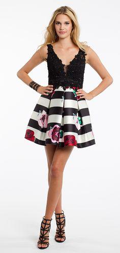 Applique And Flower Stripe Skirt Homecoming Dress #camillelavie