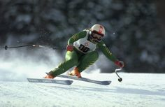 Clare Booth of Great Britain in action during the Women's Downhill event at the 1984 Winter Olympic Games in Sarajevo,
