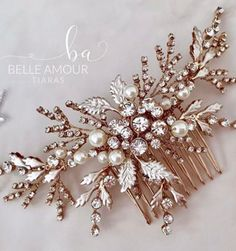 Rose gold hair comb Bridal hair piece Rose gold accessories Hair jewelry Hair comb for bride Mother of the bride Crystal pearl comb Gold Headpiece, Headpiece Wedding, Wedding Themes, Wedding Ideas, Wedding Dresses, Wedding Hair Inspiration, Wedding Hair Pins, Rose Gold Hair, Bride Hairstyles