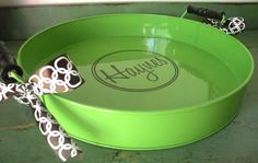 round serving tray Ohh I have one of those in white.  Putting a name on it is a great idea.