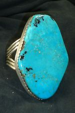 HUGE NAVAJO STERLING SILVER BLUE TURQUOISE BRACELET NATIVE AMERICAN DEAD PAWN