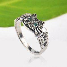 Lindo color sólido del anillo del Rhinestone del gato con incrustaciones para las mujeres para Vender - La Tienda En Online IGOGO.ES