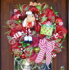 Deco Mesh MERRY CHRISTMAS MOOSE Wreath by decoglitz on Etsy