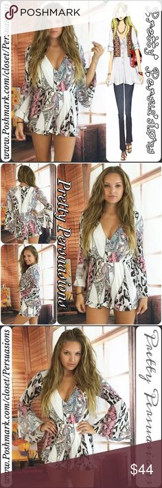 """SALE LAST 1❗️Bell Sleeve V-Neck Ruffle Hem Romper NWT Bell Sleeve V-Neck Ruffle Hem Romper   Available in size: Small • LAST ONE❗️  Measurements taken in inches from a size small:  Length: 32"""" Bust: 36"""" Waist: 26""""  100% Rayon  Features • long bell sleeves • v-neckline • ruffled bottom hemline • mixed print all over   Fair offers welcome-Plz use offer option  Bundle discounts available  No pp or trades  Item # 1/109150240MR bell sleeve Pretty Persuasions Pants Jumpsuits & Rompers"""