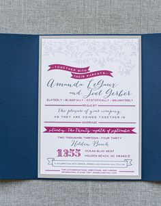 Raspberry and Navy Cute Flower and Banner Wedding by LamaWorks, $5.00