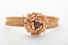 Vintage 1950s ROSE FLOWER Blue Sapphire Ladies 14k Gold COVERED Watch WOW!!!