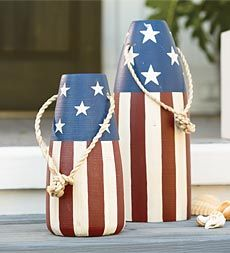 Patriotic Buoys.  Great For Beach or Lake House.