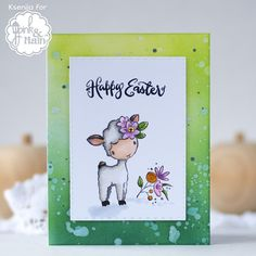 Pink And Main Sketched Easter Cute Lamb, Tim Holtz Distress Ink, Copic Sketch Markers, Stamping Tools, Alcohol Markers, Ink Pads, Maine, Easter, Handmade Cards