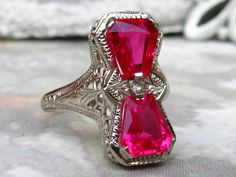 Valentine's Day Gift! Art Deco Engagement Ring Antique Twin Ruby Ring 14K White Gold Filigree Ring Antique Art Deco Engagement Ring Size 7! by LadyRoseVintageJewel on Etsy https://www.etsy.com/listing/195739072/valentines-day-gift-art-deco-engagement