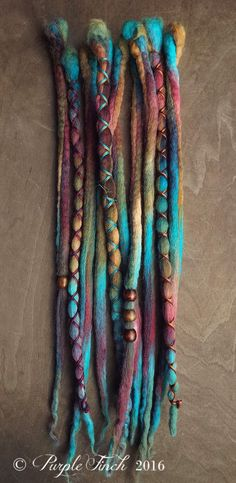 10 Custom Clip In or Braid In Dreadlock Extensions Color Mix: Hippie Boho Tie Dye Wool Synthetic Dreads Hair Wraps and Beads Bohemian Hairstyles, Dreadlock Hairstyles, Wedding Hairstyles, Black Hairstyles, Natural Hair Accessories, Dreadlock Extensions, Synthetic Dreads, Tie Dye Colors, Hippie Boho