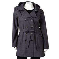 23d55dd4db6 Plus Size Sebby Hooded Plaid Double-Breasted Trench Coat