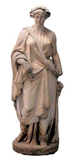 Ecole française fin du XVIIe siècle Statue grandeur nature en roche métamorphique de type marbre calcique. Cette sculpture d'après l'antique représente probablement Cérés. Debout, vêtue d'une robe longue… - Audap-Mirabaud - 04/11/2015