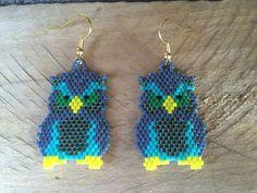 Native American Style Boho Angry Owl Earrings by EmeraldBeadMaker