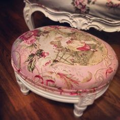 Footstool upholstered in fragonard fabric