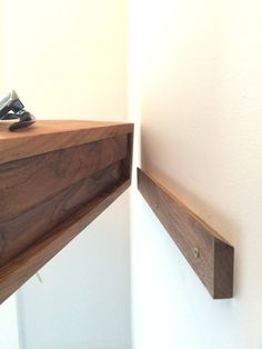 Floating Nightstand Mid Century Modern Bedside Table in Solid