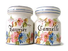 Set of 2 French vintage handpainted spice jars for bay leaves and cinnamon. Signed and numbered French country shabby chic by Chanteduc on Etsy https://www.etsy.com/listing/187175715/set-of-2-french-vintage-handpainted