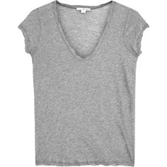 Womens Short-Sleeved Tops James Perse Grey Cotton Jersey T-shirt (8.265 RUB) via Polyvore featuring tops, t-shirts, james perse tee, james perse, gray t shirt, short sleeve tee и twist top