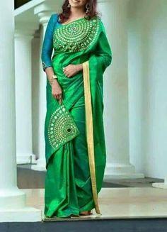 Peacock Colour matching silk saree with patch style Saree Blouse Designs, Blouse Patterns, Indian Attire, Indian Wear, Beautiful Saree, Beautiful Outfits, Indian Dresses, Indian Outfits, Simple Sarees