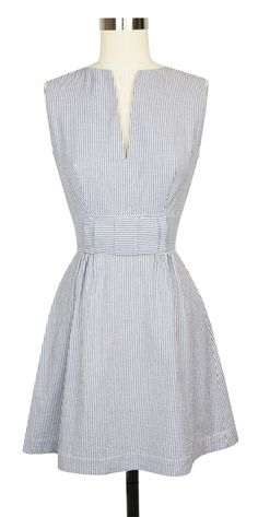 The darling Trashy Diva Bitsy Dress is now available in Blue and White Seersucker!