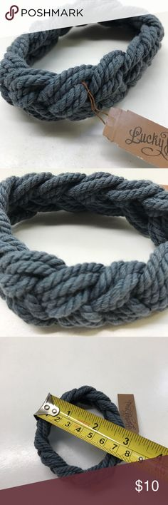 NWT Lucky Brand braided bracelet Dark denim blue/gray color slips on and off wrist (no clasp by design)- about an inch high. Could be unisex? Lucky Brand Jewelry Bracelets