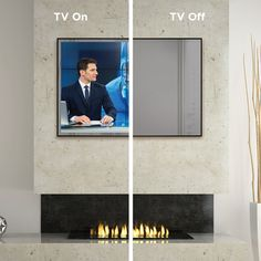 Electric Mirror Eclipse - Wall Mount Rectangular Mirror TV Cover with Width: Hotel Lounge, Tv Over Fireplace, Fireplace Ideas, 65 Inch Tvs, Mirror Tv, Electric Mirror, Tv Covers, Hidden Tv, Arquitetura
