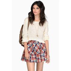 Tobi Prima Pregame Skirt (€8,93) ❤ liked on Polyvore featuring skirts, red multi, short white skirt, plaid skater skirt, plaid skirt, pleated skater skirt and circle skirt