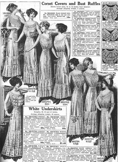 """Corset Covers and Bust Ruffles - Sears Catalog page reprints from """"Everyday Fashions, 1909-1920"""" via American Duchess"""