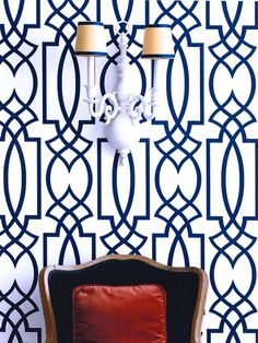 Eddie Ross: Amazing vignette with Antonina Vella Dolce Vita Wallpaper in  Navy Blue, vintage double .