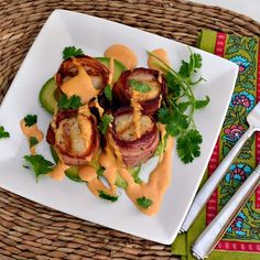 The Foodie Couple: Grilled Bacon Wrapped Scallops with a Chipotle Hollandaise Sauce