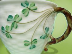 Antique Belleek Shamrock Basketweave Teacup - Old Black Mark Irish Parian Porcelain - Hand Painted Vintage China St Patrick's Day Tea Cup. via Etsy.